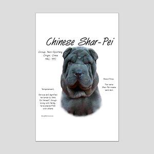 Shar-Pei (blue) Mini Poster Print
