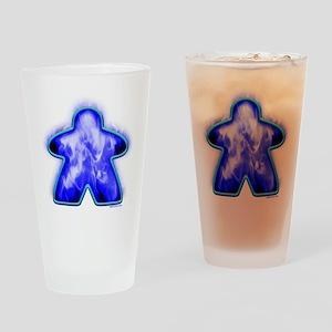 Blue Fire Meeple Drinking Glass