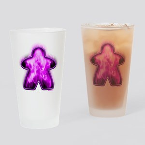 Purple Fire Meeple Drinking Glass