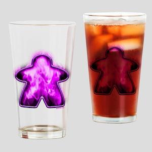 Purple Fire Meeple Drinking Glass