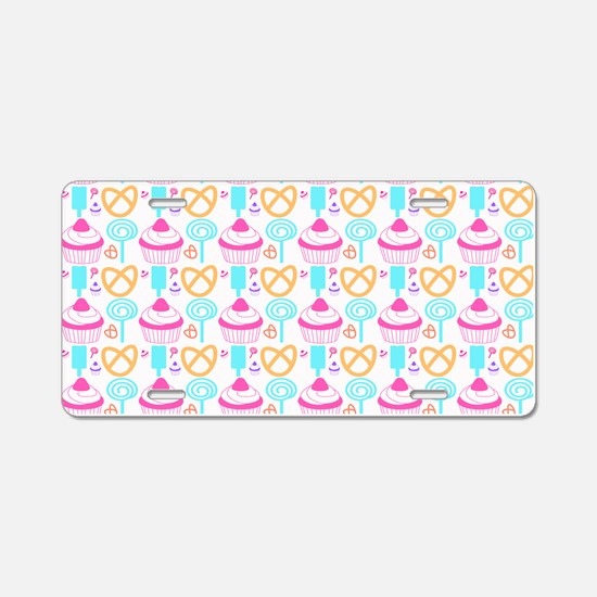 Colorful Cupcake Sweets Aluminum License Plate