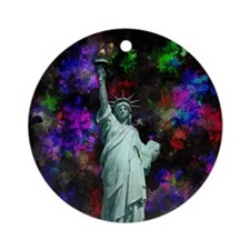 Mixed Media Statue of Liberty Ornament (Round)