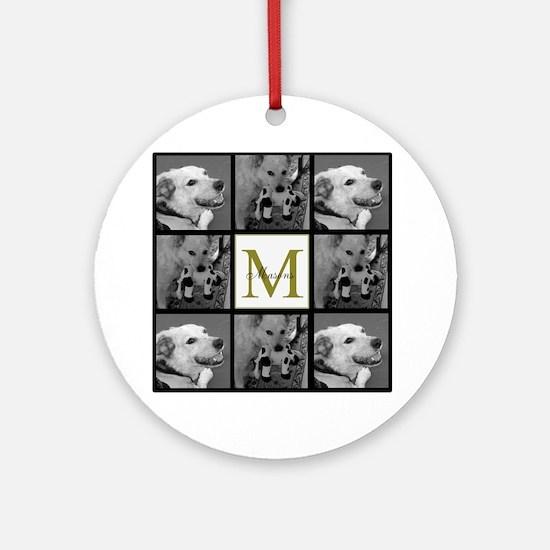 Beautiful Photo Block and Monogram Ornament (Round
