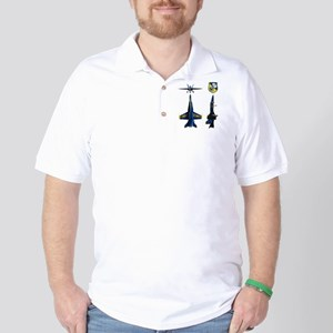 Blue Sillouette Golf Shirt