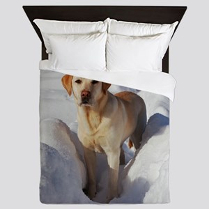 yellow lab in snow Queen Duvet