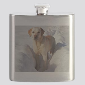 yellow lab in snow Flask