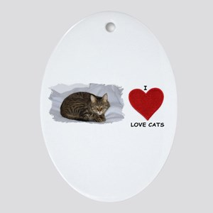 I LOVE CATS Oval Ornament