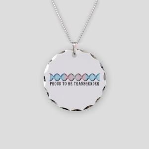 Transgender Pride DNA Necklace Circle Charm