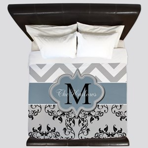 Three Initial Monogram King Duvet