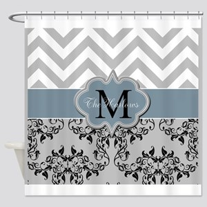 Three Initial Monogram Shower Curtain