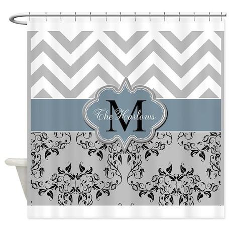 Three Initial Monogram Shower Curtain