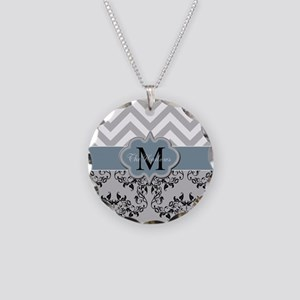 Monogram, Damask and Chevron Necklace