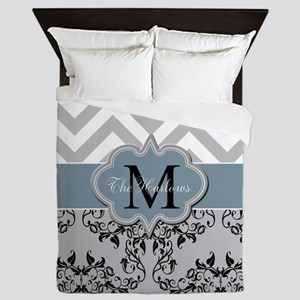 Monogram, Damask and Chevron Queen Duvet