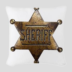 Sheriff Badge Woven Throw Pillow