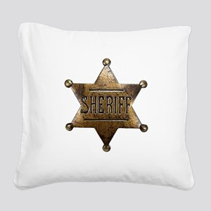 Sheriff Badge Square Canvas Pillow