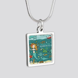 Mermaid Underwater Silver Square Necklace