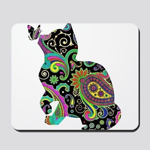 Paisley cat and butterfly Mousepad
