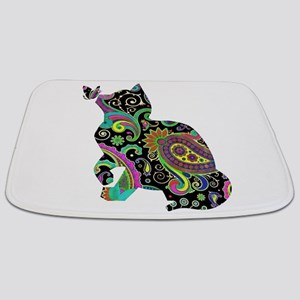 Paisley cat and butterfly Bathmat