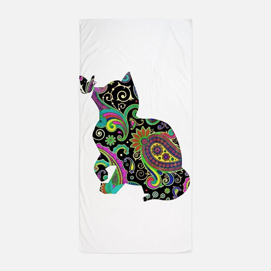Paisley cat and butterfly Beach Towel