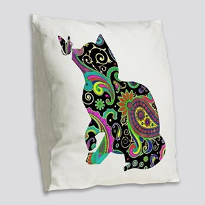 Paisley cat and butterfly Burlap Throw Pillow
