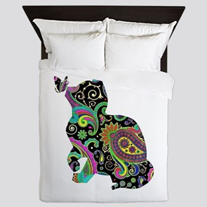 Paisley cat and butterfly Queen Duvet