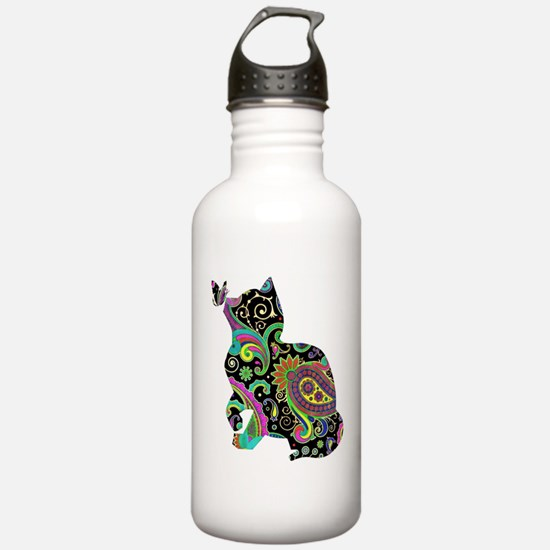 Paisley cat and butterfly Water Bottle