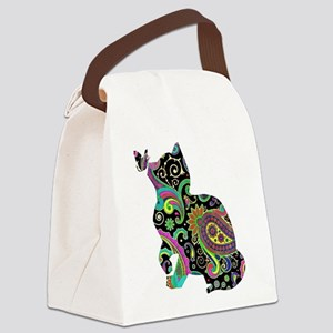 Paisley cat and butterfly Canvas Lunch Bag