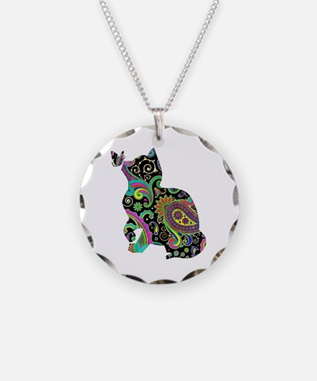 Paisley cat and butterfly Necklace