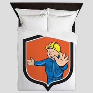 Builder Carpenter Hands Out Cartoon Queen Duvet