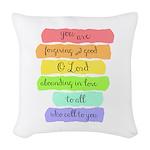 Psalm 86:5 Rainbow Stripe Verse Woven Throw Pillow