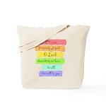Psalm 86:5 Rainbow Stripe Verse Tote Bag