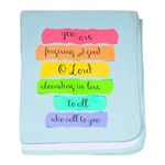 Psalm 86:5 Rainbow Stripe Verse baby blanket