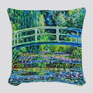 Monet - Water Lily Pond Woven Throw Pillow