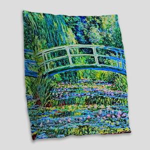 Monet - Water Lily Pond Burlap Throw Pillow