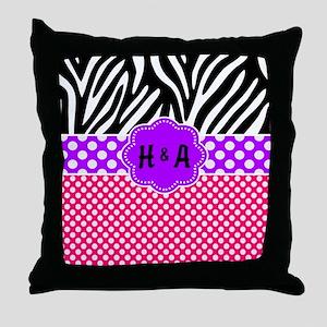 Pink Purple Zebra Dots Personalized Throw Pillow