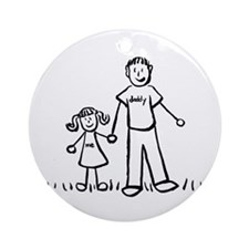 Father and Daughter Drawing Ornament (Round)