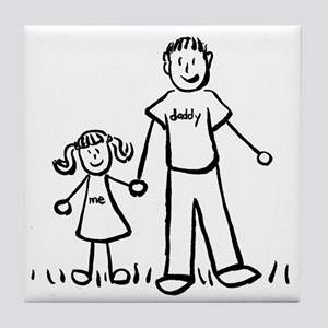 Father and Daughter Drawing Tile Coaster