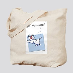 Swimming Westie Beach Towel Tote Bag