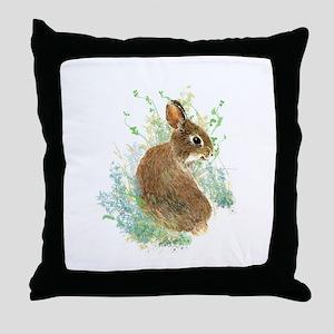 Cute Watercolor Bunny Rabbit Animal Art Throw Pill