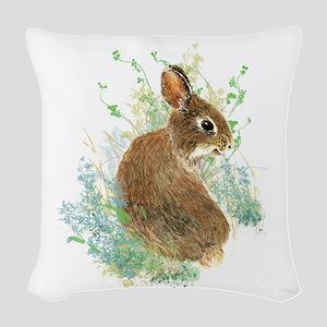 Cute Watercolor Bunny Rabbit Animal Art Woven Thro