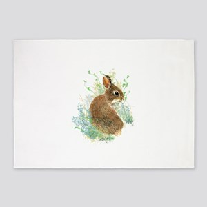 Cute Watercolor Bunny Rabbit Animal Art 5'x7'Area