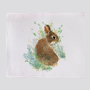 Cute Watercolor Bunny Rabbit Animal Art Throw Blan