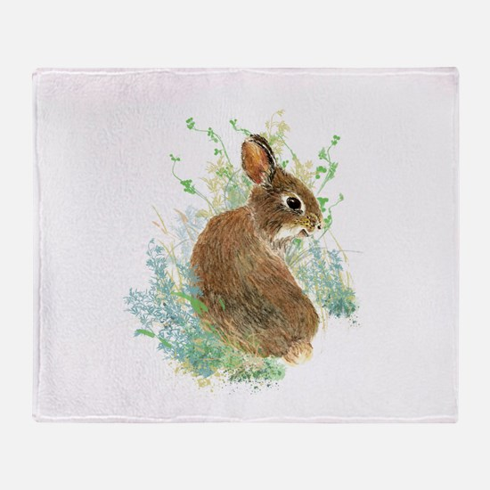 Cute Watercolor Bunny Rabbit Animal Art Throw Blan