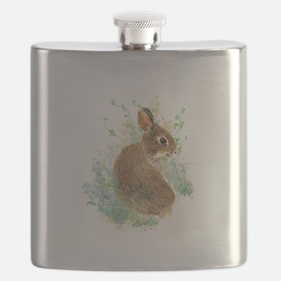 Cute Watercolor Bunny Rabbit Animal Art Flask