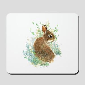 Cute Watercolor Bunny Rabbit Animal Art Mousepad