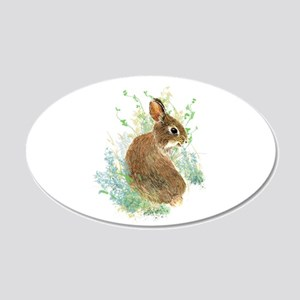 Cute Watercolor Bunny Rabbit Animal Art Decal Wall