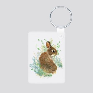 Cute Watercolor Bunny Rabbit Animal Art Keychains