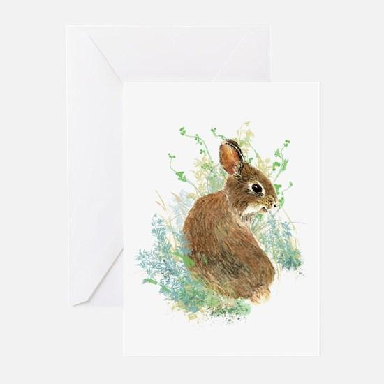 Cute Watercolor Bunny Rabbit Animal Art Greeting C