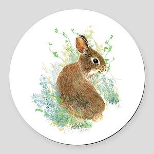 Cute Watercolor Bunny Rabbit Animal Art Round Car