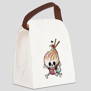 Skull Cupcake Canvas Lunch Bag